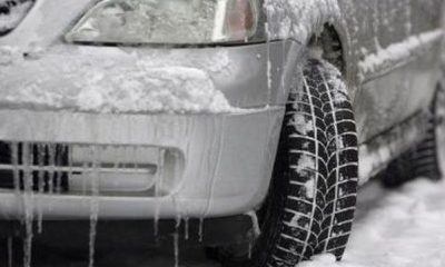 car stucked in snow
