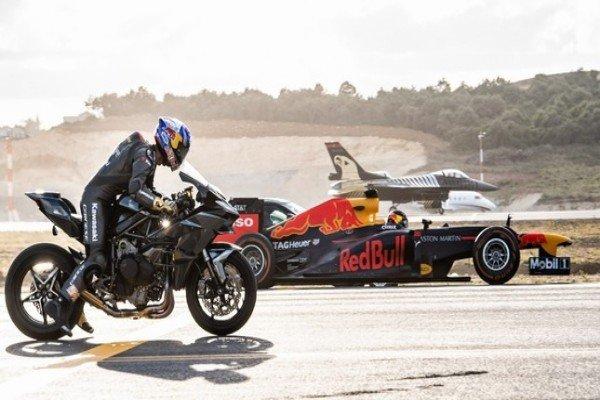 Kawasaki Ninja H2R Hypersport Bike Smokes Fighter Jet,Sportcars,Model S And F1 Car In Airport Drag Race