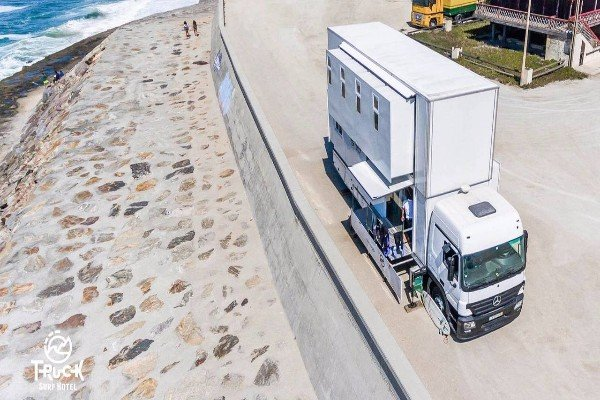 Truck Surf Hotel:See Inside The 2-Storey Hotel-On-Wheels That Was Built From A Mercedes-Benz Truck