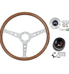 1966 ford galaxie steering wheel kit woodgrain satin 3 spoke 15in ford logo 1965 67 fairlane falcon galaxie mustang stw102s6  [ 1000 x 1000 Pixel ]