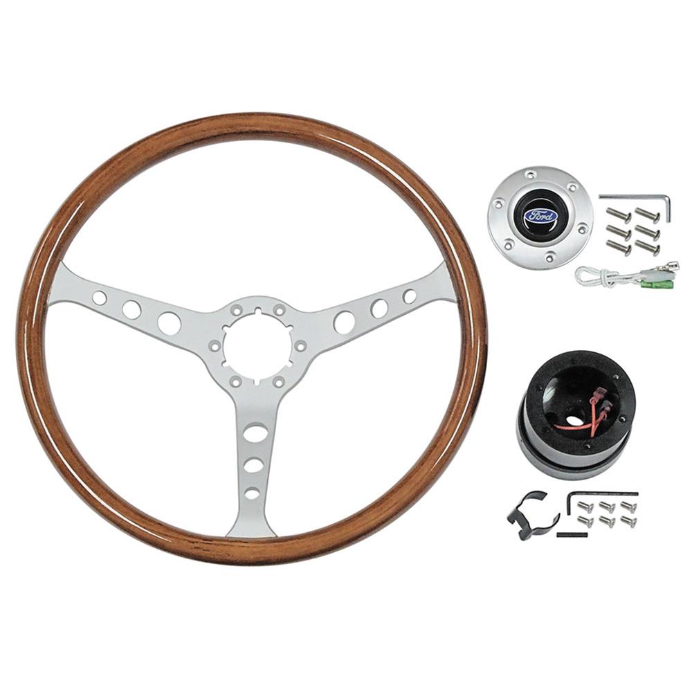 hight resolution of 1966 ford galaxie steering wheel kit woodgrain satin 3 spoke 15in ford logo 1965 67 fairlane falcon galaxie mustang stw102s6