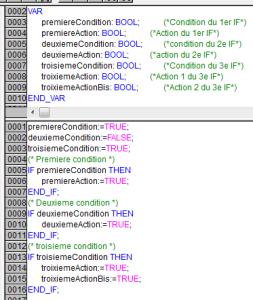 Exemple de IF sous codesys