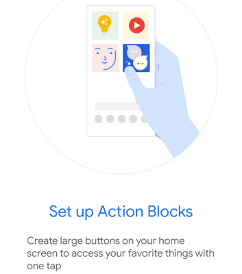 Screenshot of Google Action Blocks Acessiblity Option