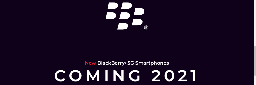 Screenshot of Onward Mobility stating the new Blackberry 5G phone is coming in 2021