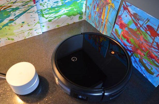 Yeedi K600 Robovac and Google WiFi beside each other