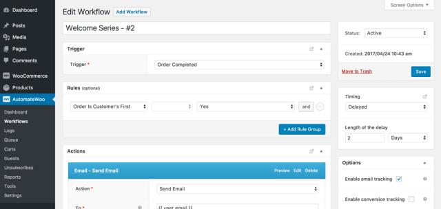 AutomateWoo plugin workflow list