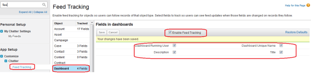 Enable Feed Tracking for Dashboard