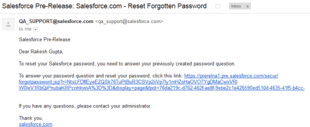 Password reset email