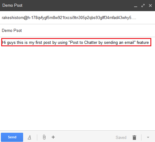 Email (Post to Chatter by sending an email)