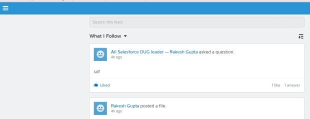 Search Feed from Salesforce1