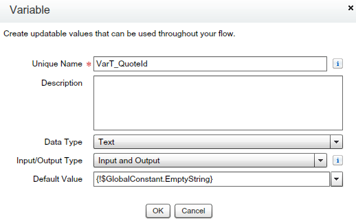 Text Variable (To store Quote ID)