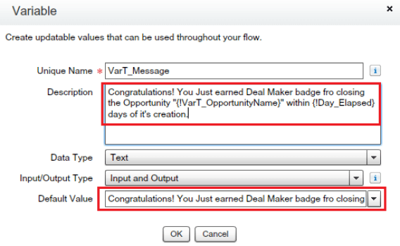 Variable to store Message