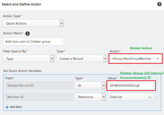 Add action – Quick Actions