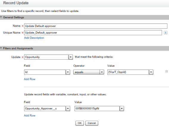 Record Update - To update default approver
