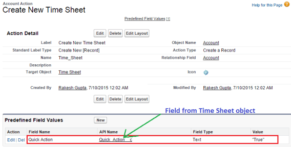 Set Predefined Field Values for Quick Action Fields