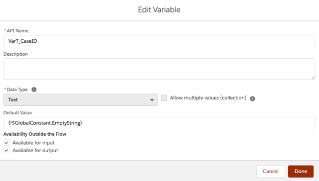 Create a Variable in Flow