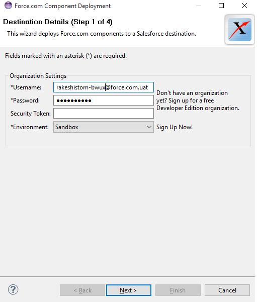 Enter Sandbox Credentials
