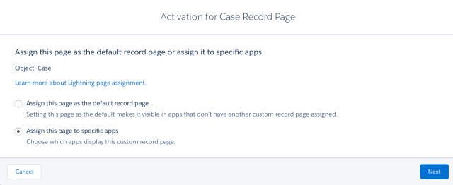 Assign a Custom Record Page to Lightning Apps