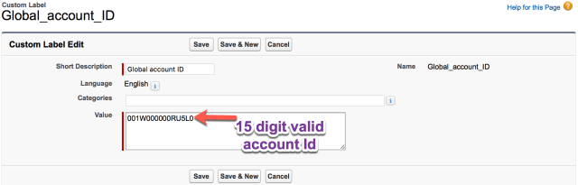 Update custom label with valid Account ID