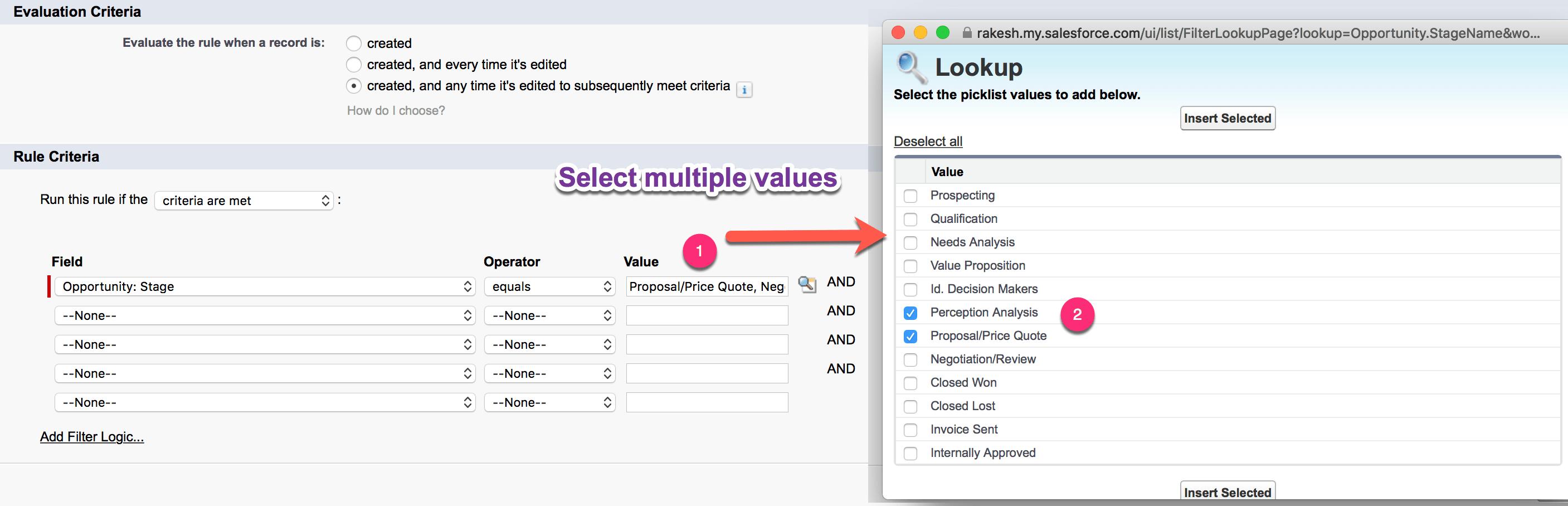 Select Multiple Picklist Values in Process Builder Criteria