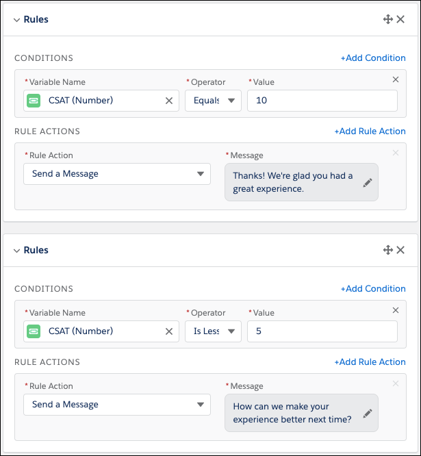 Conditional messaging chatbot conversation in Salesforce Spring 20 Release