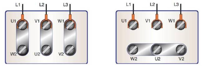 Conexión de un motor en triángulo y en estrella mediante plaquetas