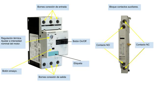 Guardamotor contactos auxiliares