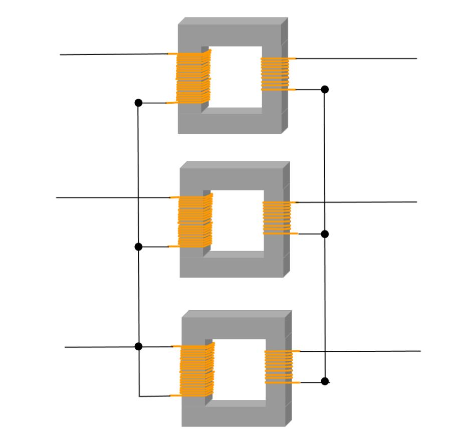 Transformador eléctrico trifásico