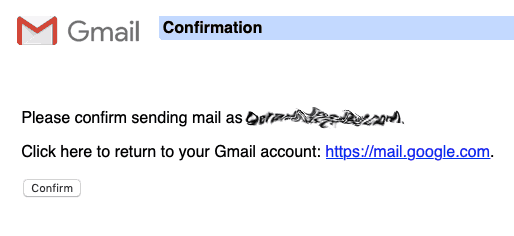 Confirm sending mail as...
