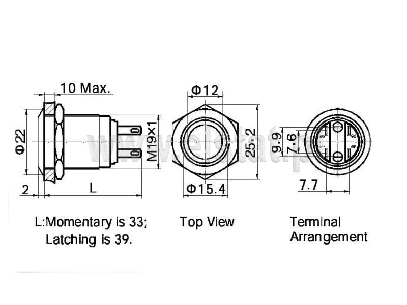 Przełącznik stabilny, podświetlany; czerwony ring; LED