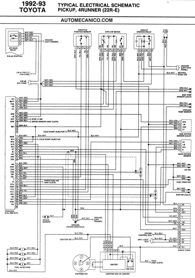 1995 toyota 4runner wiring diagram 110 quad 1986/93 | diagramas esquemas ubicacion de components mecanica automotriz