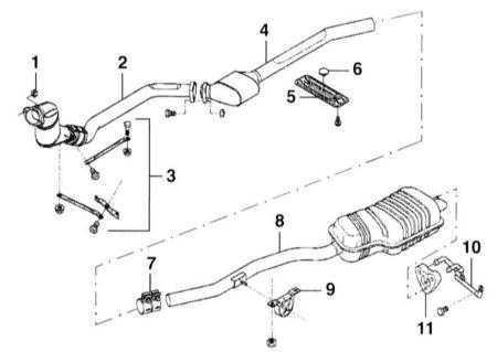 Ремонт БМВ 3 : Снятие и установка системы выпуска BMW 3 (E46)