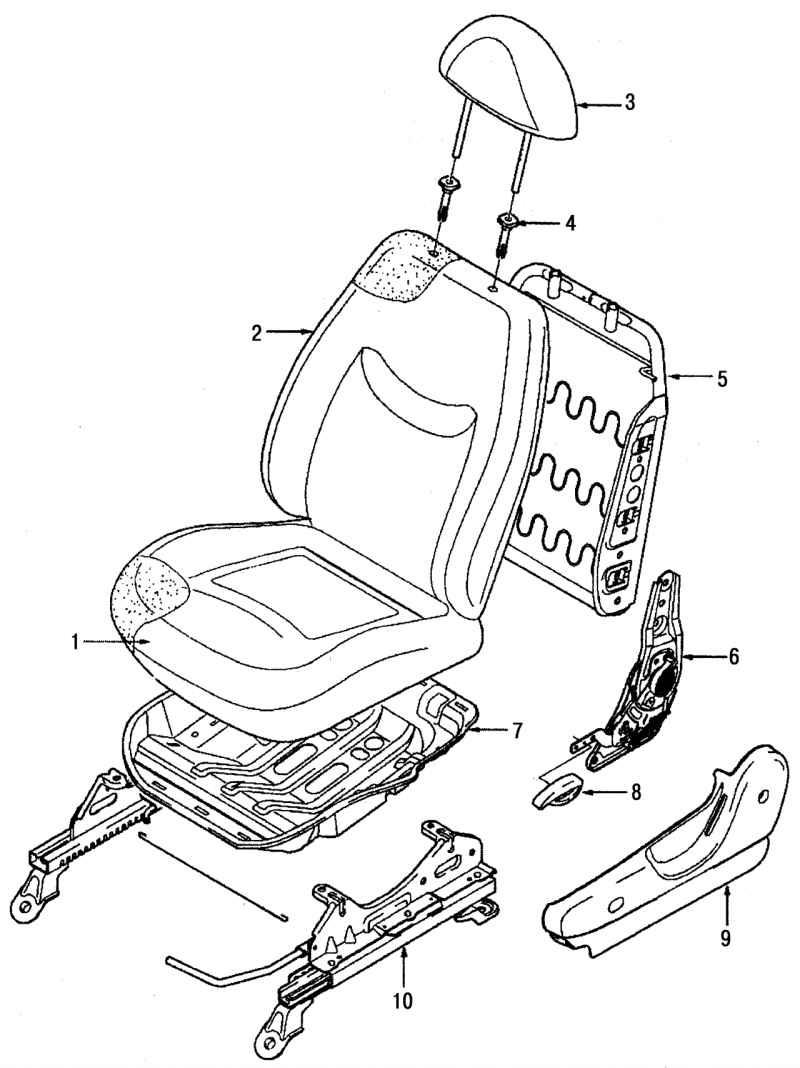 Ремонт Дэу Матиз : Описание конструкции сиденья Daewoo Matiz