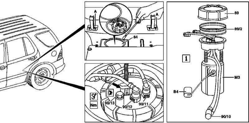 Ремонт Мерседес 163 : Снятие и установка сборки топливного