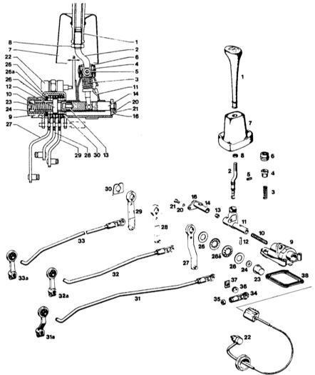 Ремонт Мерседес 123: Регулировка привода переключения