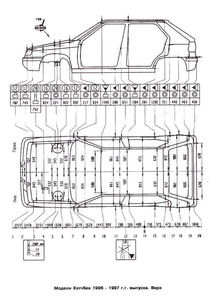Ремонт Шкода Фелиция : Контрольные кузовные размеры Skoda