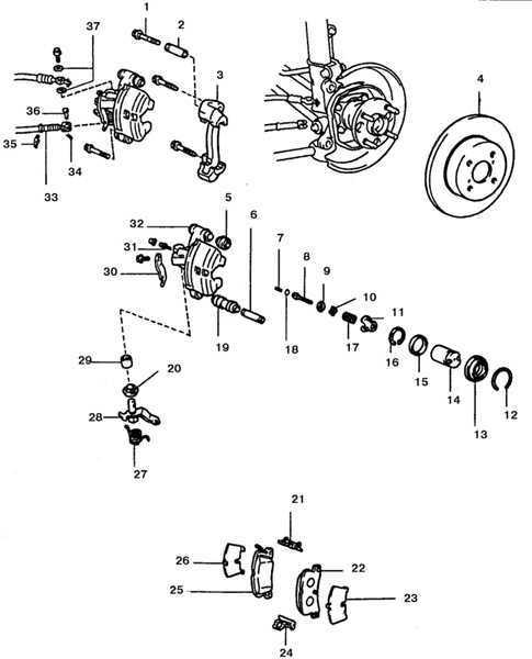 Ремонт Тойота Королла : Суппорт задних дисковых тормозов