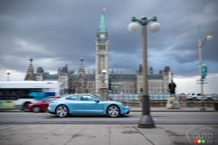 The Porsche Taycan 4S, in Ottawa