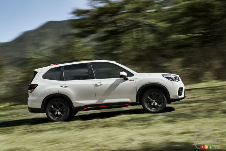 A 2021 Subaru Forester in Crystal White Pearl