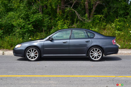 The Subaru Legacy, profile, with its Toyo Proxes Sport A/S tires