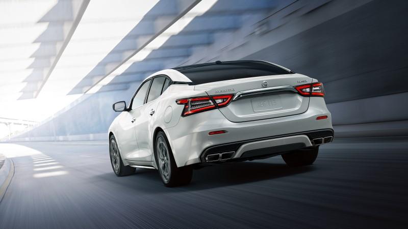 2021 Nissan Maxima White Rear Angle