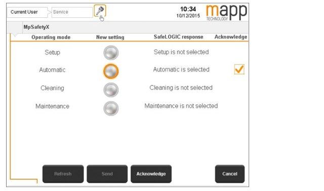 운전 모드는 미리 코딩되고 인증된 위젯을 사용하여 HMI 화면 상에서 편리하게 선택된다.
