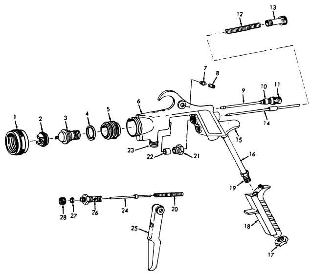 Figure 5-6. Solid-Body Type Spray Gun, Exploded View