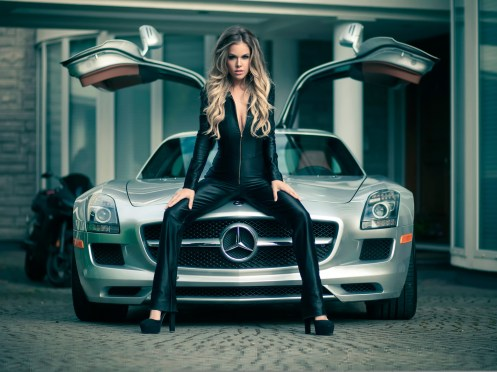 mercedes-sls-car-and-girl-1080P-wallpaper