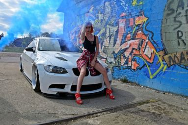 tuned-white-BMW-M3-E92-with-a-girl