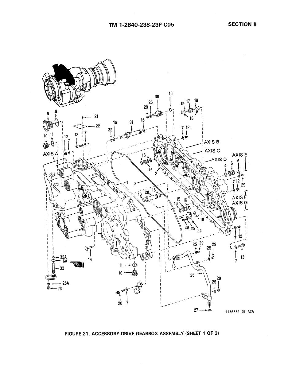 FIGURE 21. ACCESSORY DRIVE GEARBOX ASSEMBLY (SHEET 1 OF 3)