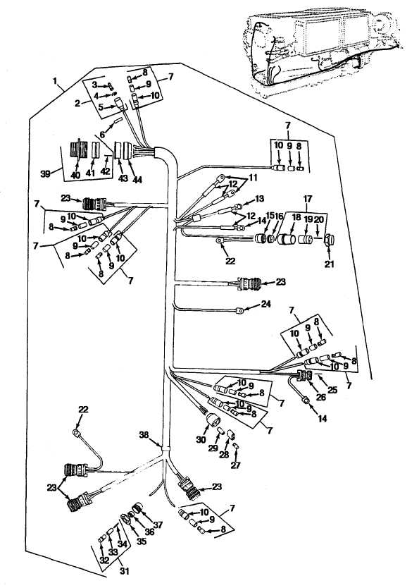 FIGURE 69. ENGINE WIRING HARNESS CONNECTORS AND TERMINALS