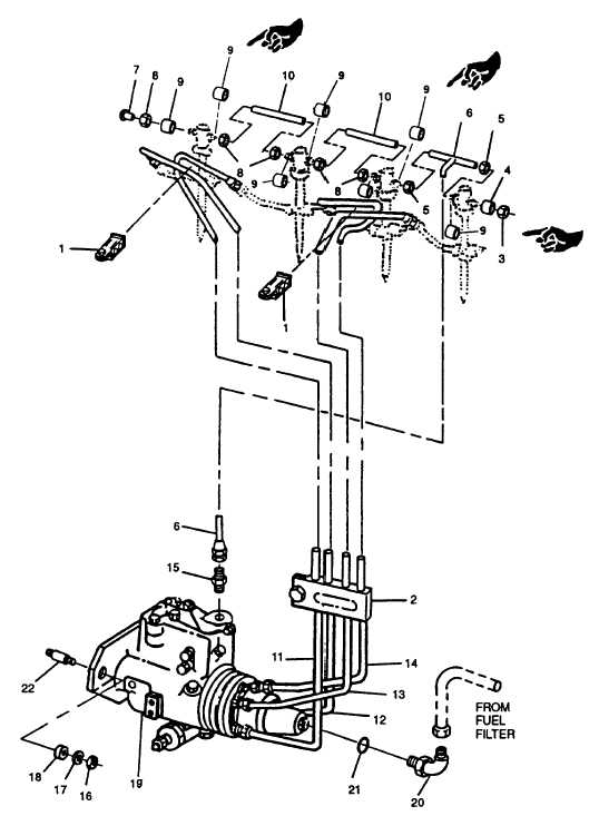 FIGURE 3-41. Fuel Lines and Injection Pump Installation