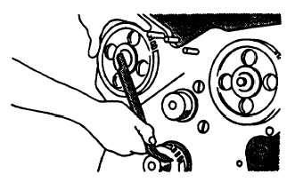 FIGURE 3-133. Aligning Timing Mark and Camshaft Gear