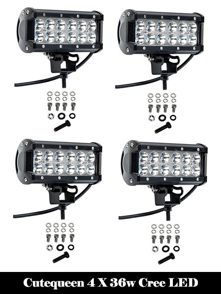 Cutequeen 4 X 36w Cree LED-Top 10 Best LED Light Bars Reviews